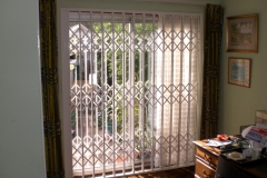 Patio Doors with collapsible security gates CLOSED